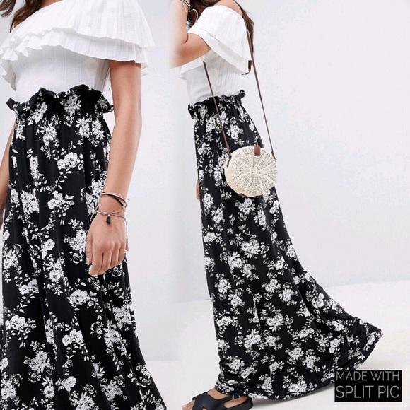 ASOS Dresses & Skirts - Floral Maxi Paper Bag Skirt